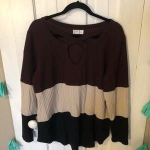 Maurices Maroon Black and Grey Colorblock Sweater